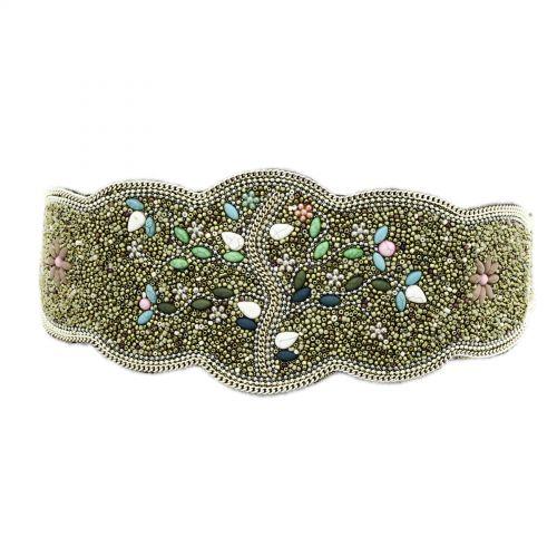 Women'S Fashion Lady Tree Of Life Handmade Mosaic Wide Belt, LUCILE