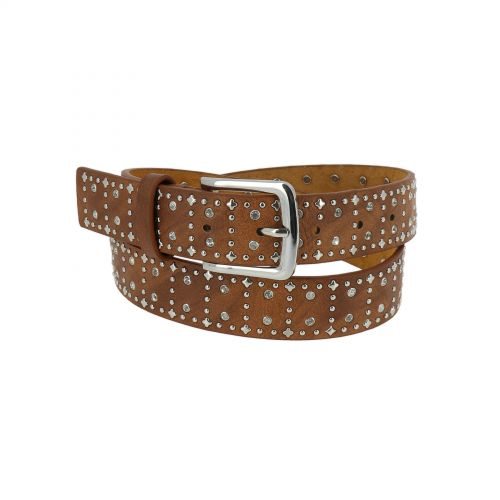 Women PU And Leather Composite, Rhinestone Studded Rivets Belt, RAINA