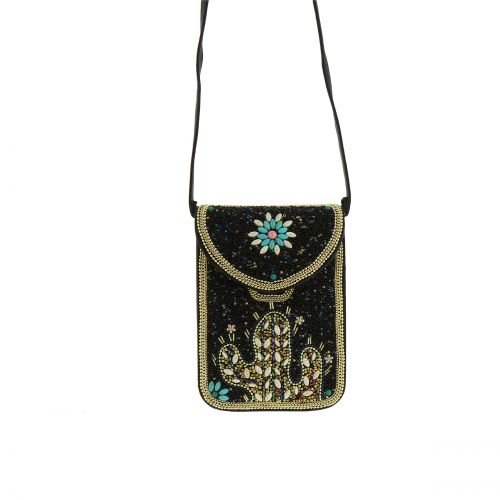 """Sac pochette à mosaique de perles fait à la main """"Cactus"""" FLORA"""