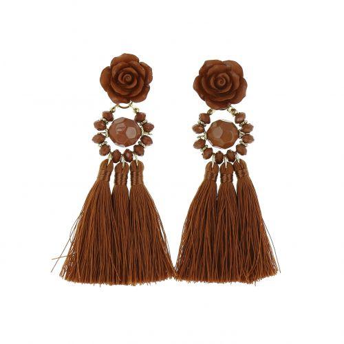 Boucles d'oreilles femme pendantes à franges Fleur ROSE