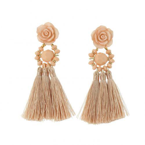 Boucles d'oreilles pendantes à franges Fleur ROSE