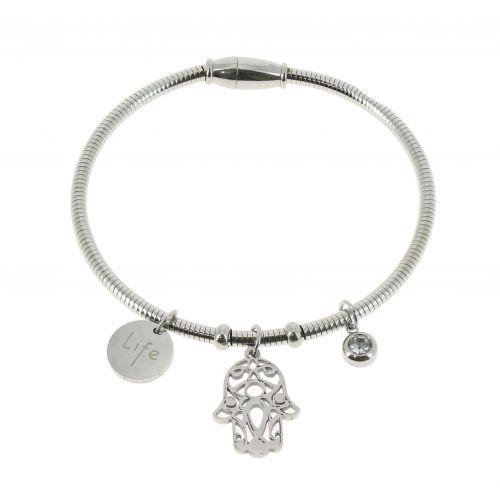 Bracelet femme Main de Fatima acier inoxydable adjustable, SAMIHA