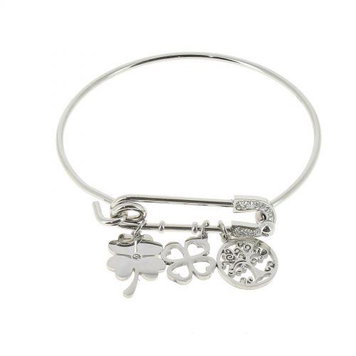 Bracelet femme charms acier inoxydable adjustable, JOANNA