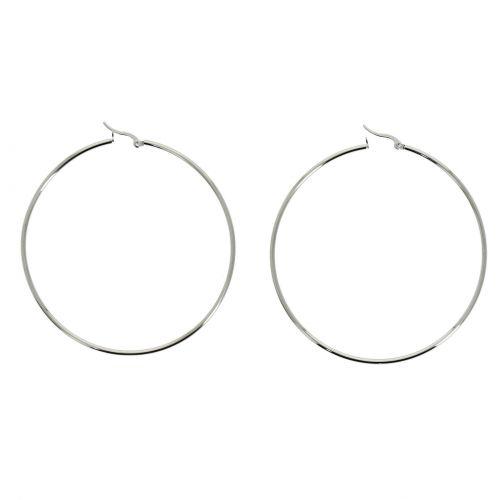 70mm rhodium Creole Earrings PRIMEROSE