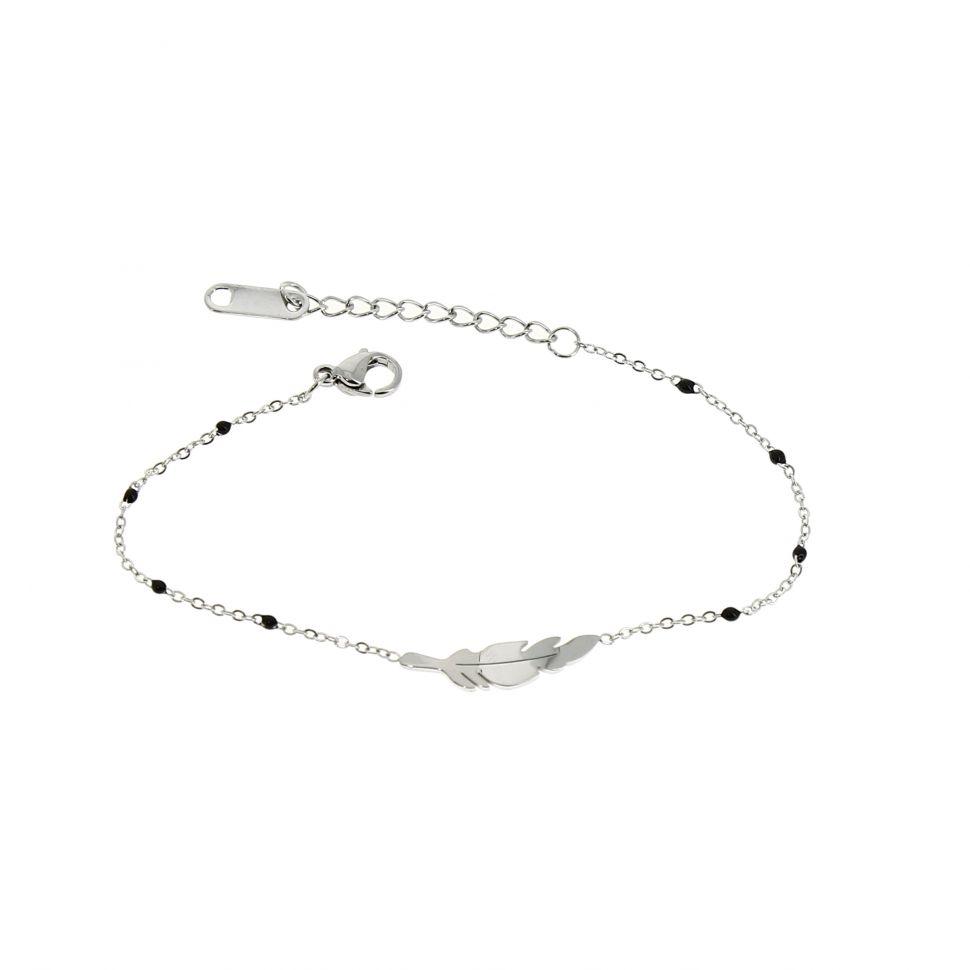 Bracelet femme acier inoxydable adjustable plume KELYS