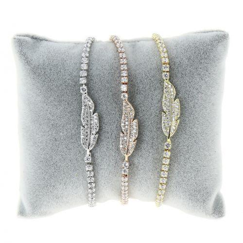 Bracelet Cubic Crystal Zirconia Adjustable Feather for Women and Girls, MIYA