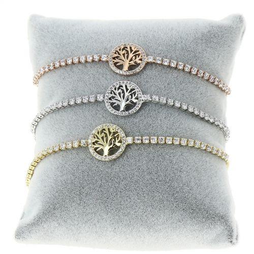 Bracelet rhinestone adjustable three of life INES