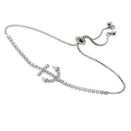 """Bracelet femme """"ANCRE"""" strass en cristal de Zirconium acier inoxydable adjustable LEONIE"""
