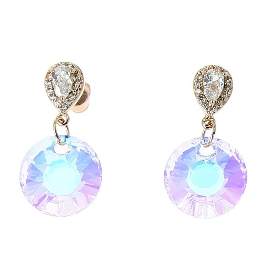 Boucles d'oreilles femme Cristal de Zirconium Swarovski doré à l'O, ISABELLE