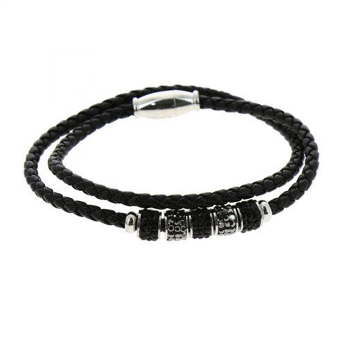 Bracelet femme similicuir, acier inoxydable LYWENN