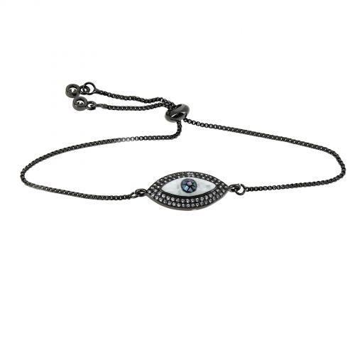 Bracelet à strass adjustable medaillon à strass