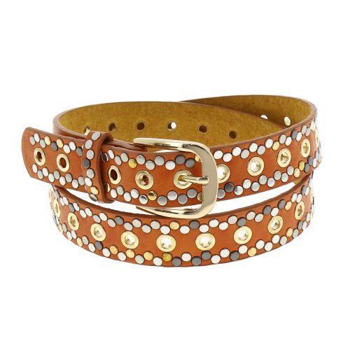 Cinturón vintage tachonado para mujer, forro de cuero, VALENTIN