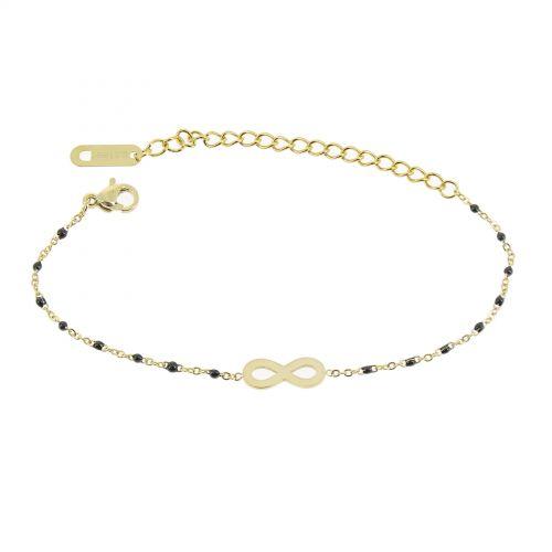 Bracelet femme acier inoxydable adjustable infini et perle HABIBE