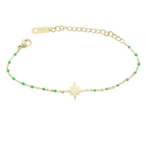 Bracelet femme acier inoxydable adjustable Anis étoile perle HACI