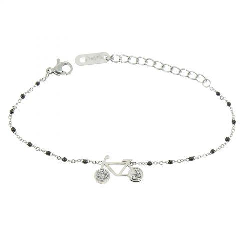Bracelet femme acier inoxydable adjustable strass perle ASHLEY