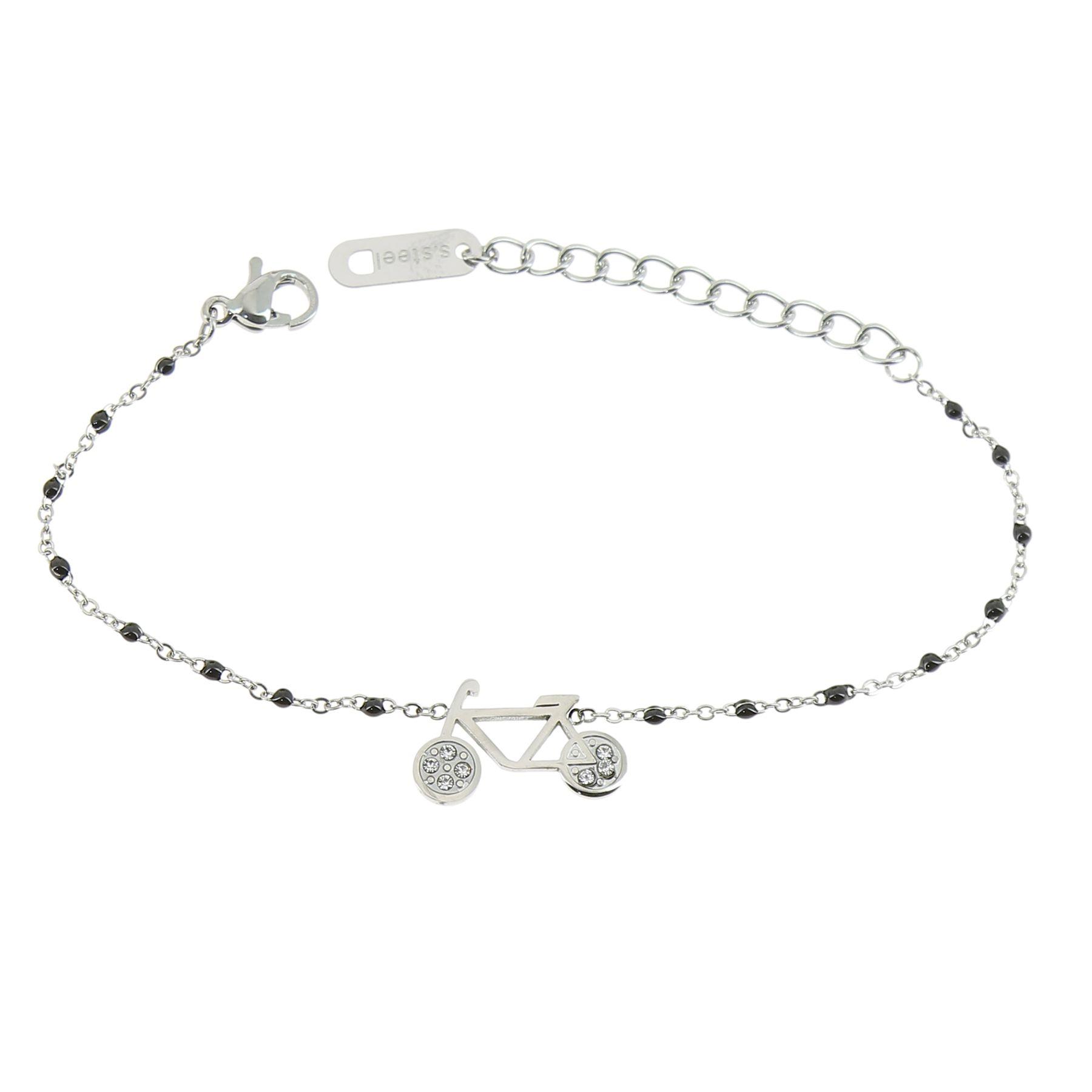 d41cf5b9c16bf Bracelet femme acier inoxydable adjustable strass perle ASHLEY. Loading zoom