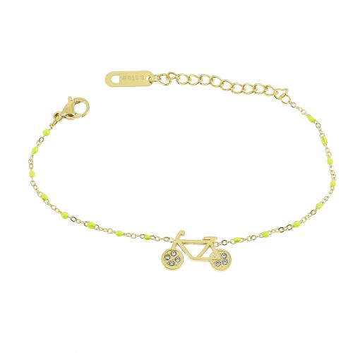 Bracelet femme acier inoxydable adjustable strass perle ASHLEY