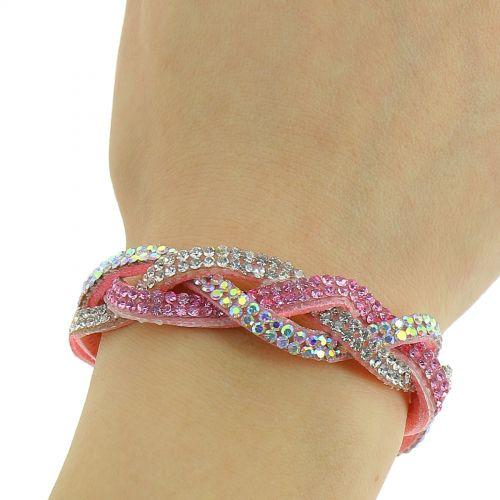 Bracelet similicuir torsadé à strass de cristal, 8923