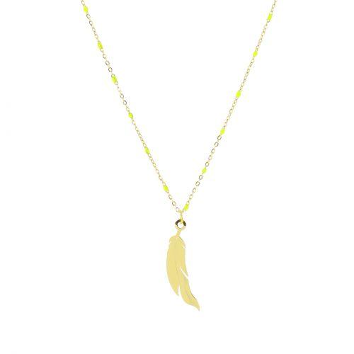 Collier à pendentif à perle plumes ALICE