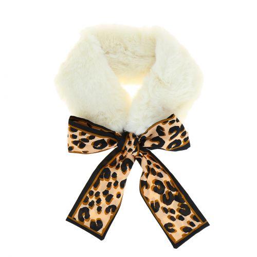 Echarpe en Peluche, Vintage Femmes cou Wrap Léopard en Mousseline de soie Cravate, col d'hiver écharpe