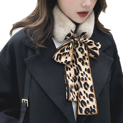 Echarpe en Peluche, Vintage Femmes cou Wrap Léopard en Mousseline de soie Cravate, col d'hiver écharpe CHANTAL