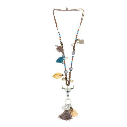 Bohemian Perlen Langen Damen-Halskette mit Quaste und Stierkopf, SARAH