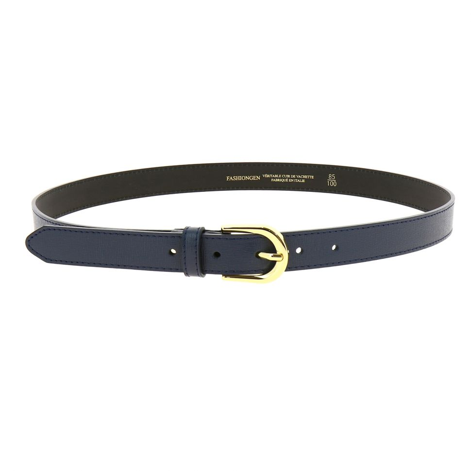 Women genuine Italian leather belt with golden Buckle, HACENA