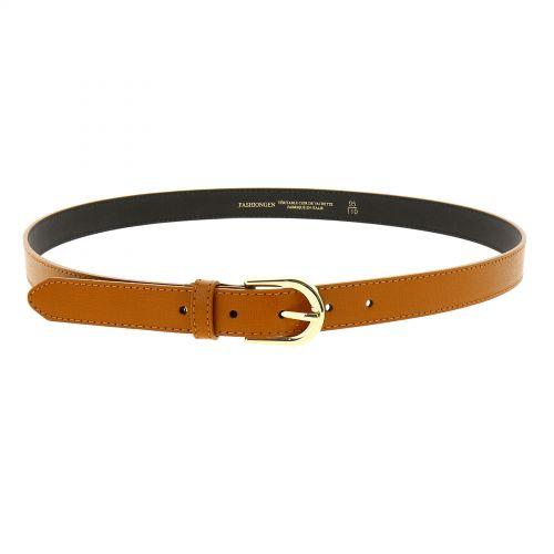 Cintura Donna 2,50 cm in vera pelle italiana con fibbia dorata HACENA, fatto in ITALIA