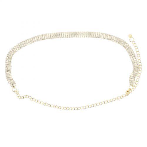 Woman's Lady Fashion Metal Chain Style Belt with strass, body chain jewel, ENEA