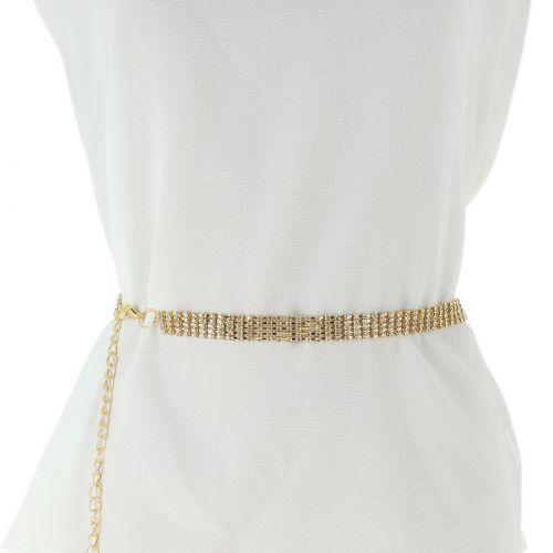 Woman's Lady Fashion Metal Chain Style Belt with strass, body chain jewel, ZIA