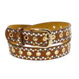Cintura donna vintage borchiata, fodera in pelle, VALENTIN