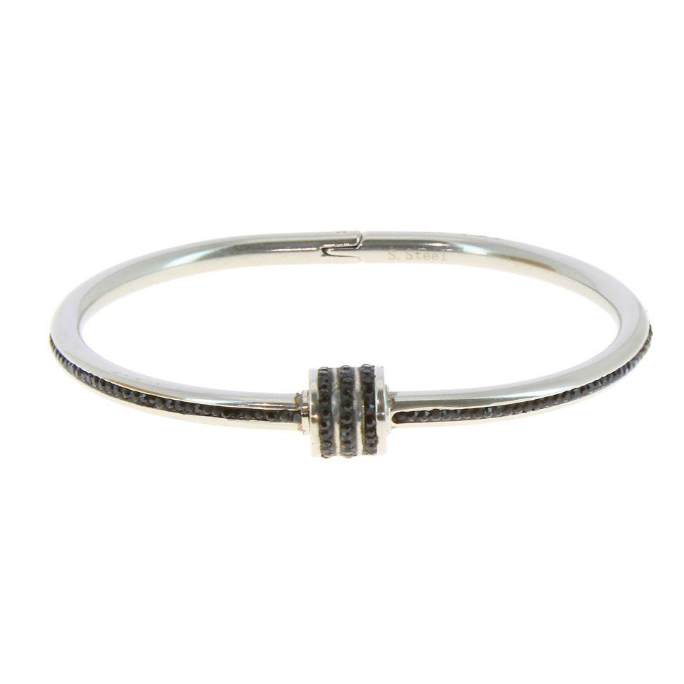 bracelet femme strass noir