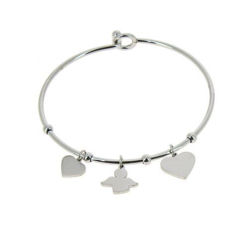 Bracelet Acier inoxydable femme à coeur et ange, CELYNA