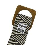 Breiter elastische damen gürtel mit Holzschnalle, hergestellt in Frankreich, CHARINE