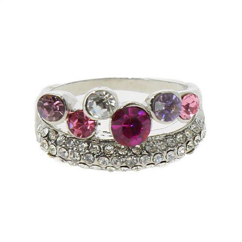 Fancy rhinestone crown ring, 6177 Gold-Fuchsia