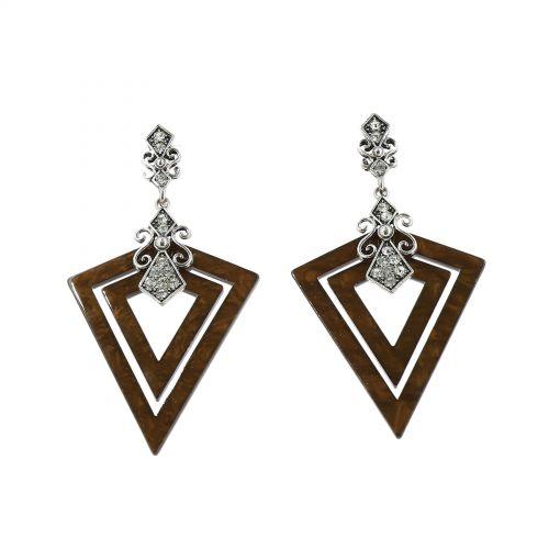 Boucles d'oreilles acrylique Triangle et Strass, BOS-11 MARRON