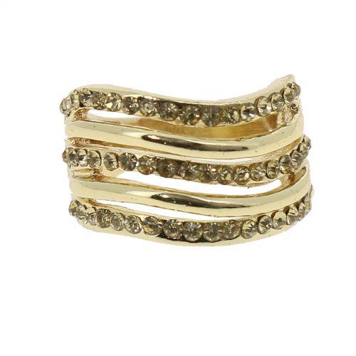 Fancy rhinestone crown ring, 6177 Gold-Multicolor