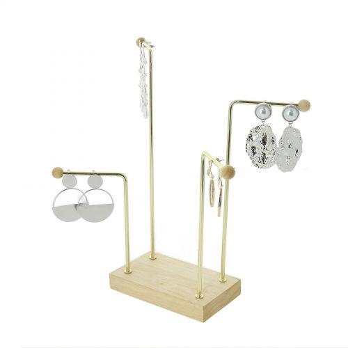 Présentoir Bois et métal forgé doré pour boucles d'oreilles