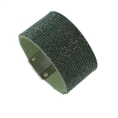 Bracelet suede cuff rhinestone JAYA