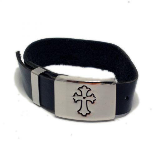 Bracelet cuir et acier inoxydable Templier