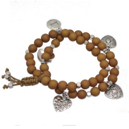 bracelet coeur et perles en bois
