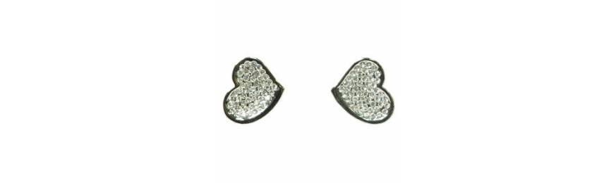 Boucles d'oreilles rhodiés, doré à l'or
